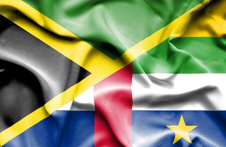 central african republic: Waving flag of Central African Republic and Jamaica