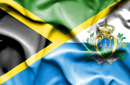 san marino: Waving flag of San Marino and Jamaica
