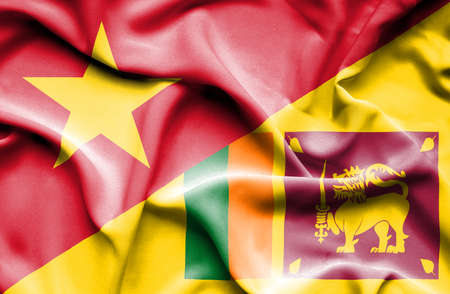 sri lankan flag: Waving flag of Sri Lanka and Vietnam