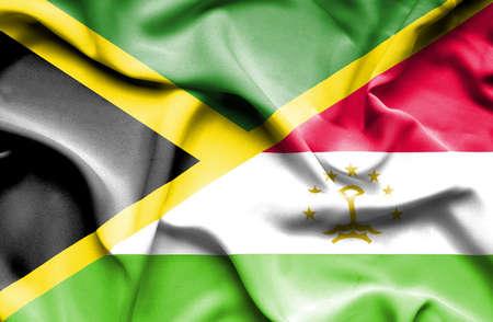 tajikistan: Waving flag of Tajikistan and Jamaica