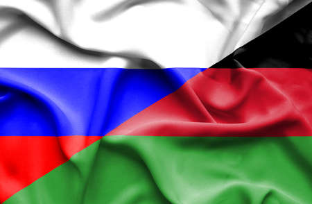 malawian flag: Waving flag of Malawi and Russia Stock Photo
