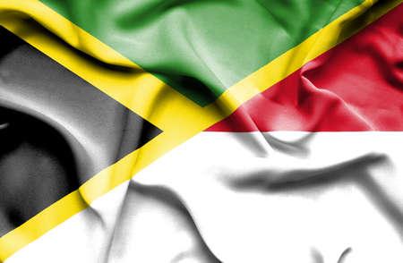 monaco: Waving flag of Monaco and Jamaica