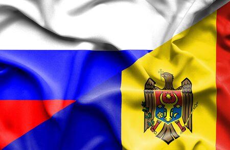 moldavia: Waving flag of Moldavia and Russia