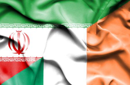ireland flag: Waving flag of Ireland and Iran