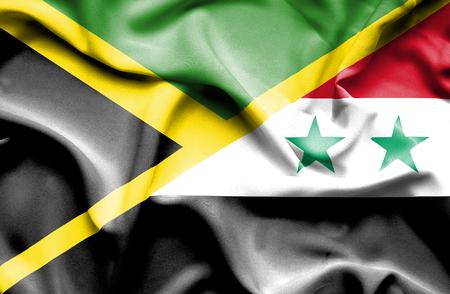 syria: Waving flag of Syria and Jamaica