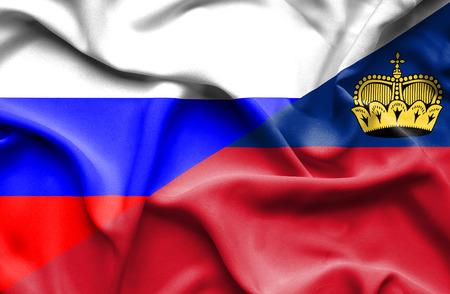 lichtenstein: Waving flag of Lichtenstein and Russia