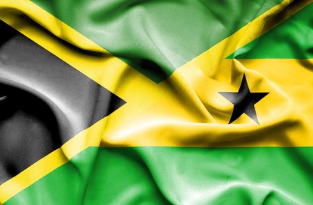 principe: Ondeando la bandera de Santo Tom� y Pr�ncipe y Jamaica