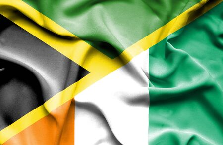 ivory: Waving flag of Ivory Coast and Jamaica