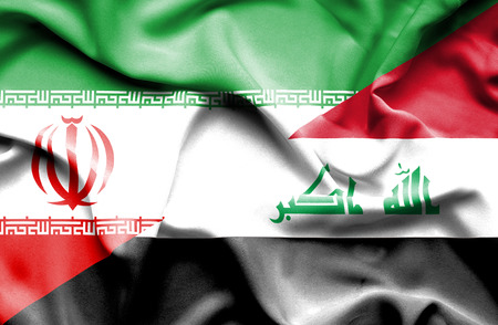 iraq conflict: Waving flag of Iraq and Iran