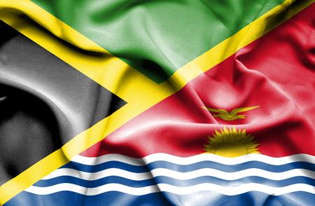 kiribati: Waving flag of Kiribati and Jamaica Stock Photo