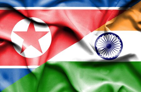 north korea: Waving flag of India and North Korea