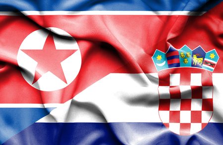 north korea: Waving flag of Croatia and North Korea