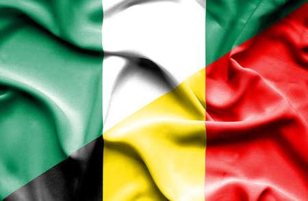 nigeria: Waving flag of Belgium and Nigeria