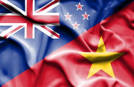 bandera de nueva zelanda: Ondeando la bandera de Vietnam y Nueva Zelanda