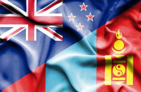 bandera de nueva zelanda: Ondeando la bandera de Mongolia y Nueva Zelanda