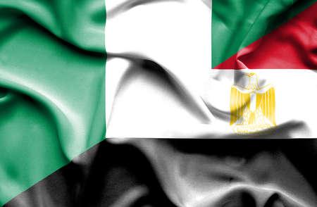 nigeria: Waving flag of Egypt and Nigeria Stock Photo