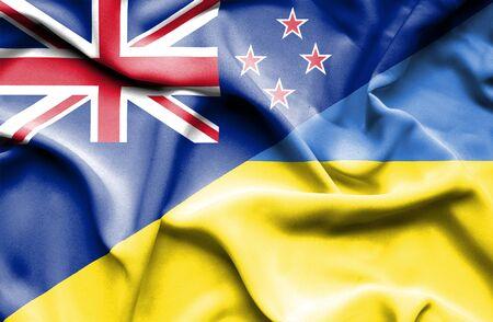 bandera de nueva zelanda: Waving flag of Ukraine and New Zealand