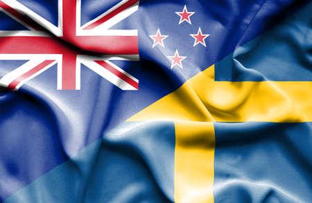 bandera de nueva zelanda: Ondeando la bandera de Suecia y Nueva Zelanda