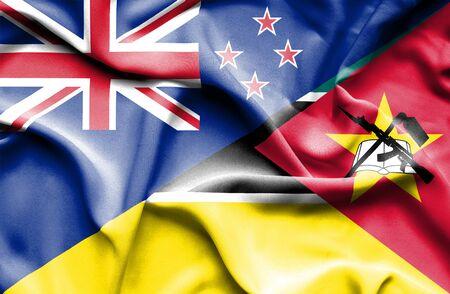 bandera de nueva zelanda: Ondeando la bandera de Mozambique y Nueva Zelanda Foto de archivo