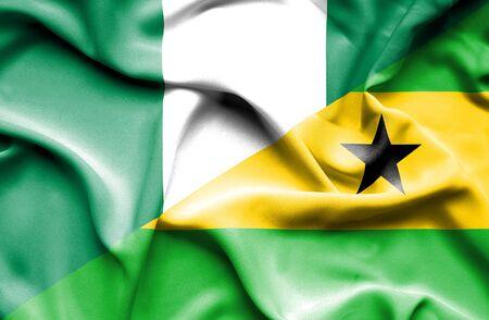 principe: Ondeando la bandera de Santo Tomé y Príncipe y Nigeria