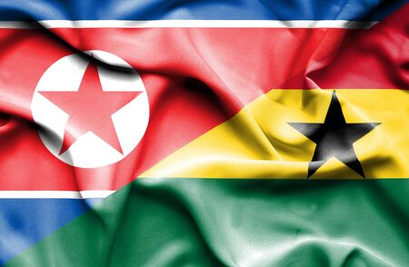 north korea: Waving flag of Ghana and North Korea