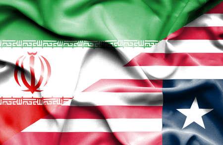 liberia: Waving flag of Liberia and Iran
