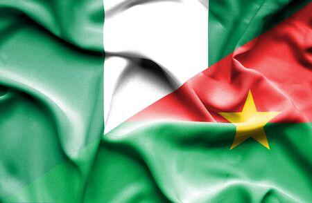 burkina faso: Waving flag of Burkina Faso and Nigeria