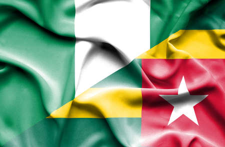 nigeria: Waving flag of Togo and Nigeria