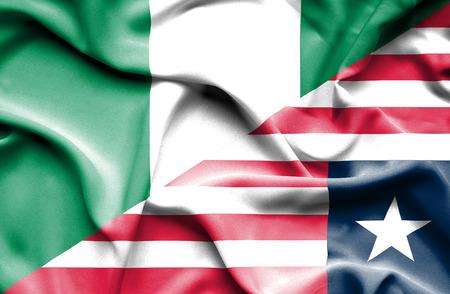 liberia: Waving flag of Liberia and Nigeria