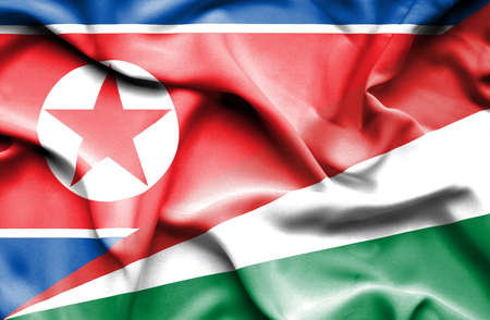 north korea: Waving flag of Seychelles and North Korea