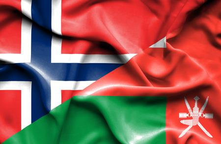 oman: Waving flag of Oman and