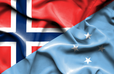 micronesia: Waving flag of Micronesia and