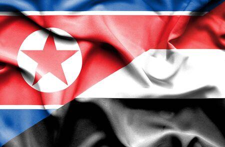 yemen: Waving flag of Yemen and North Korea