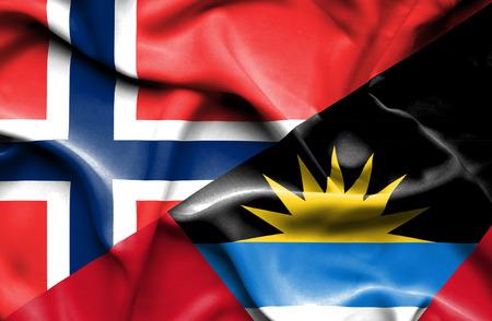 antigua flag: Waving flag of Antigua and Barbuda and