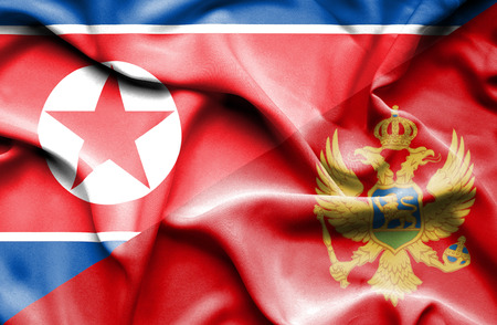 north korea: Waving flag of Montenegro and North Korea