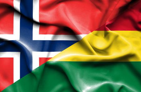 bolivia: Waving flag of Bolivia and Stock Photo