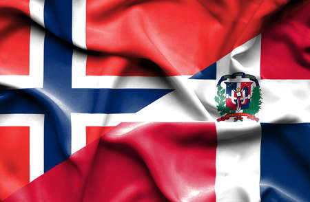 dominican republic: Waving flag of Dominican Republic and