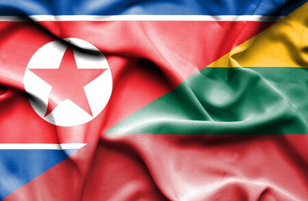 north korea: Waving flag of Lithuania and North Korea