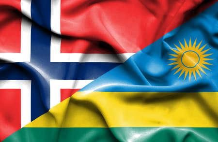 rwanda: Waving flag of Rwanda and Stock Photo