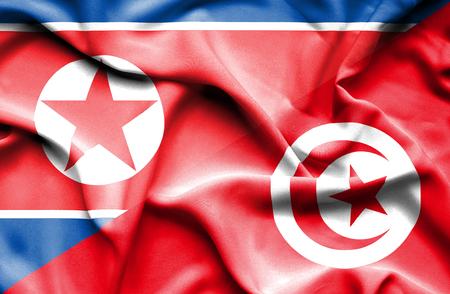 tunisia: Waving flag of Tunisia and North Korea