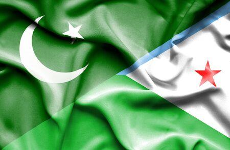 flag of pakistan: Waving flag of Dijbouti and Pakistan