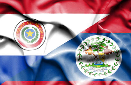 belize: Waving flag of Belize and Paraguay