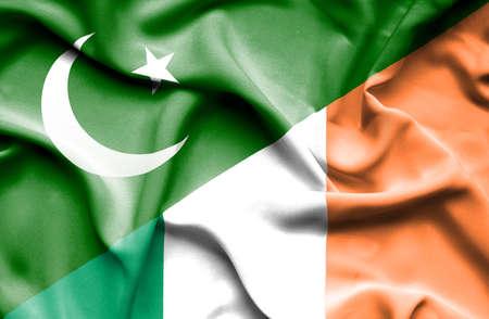 ireland flag: Waving flag of Ireland and Pakistan