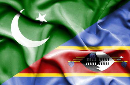 flag of pakistan: Waving flag of Swazliand and Pakistan