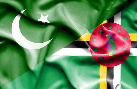 dominica: Waving flag of Dominica and Pakistan