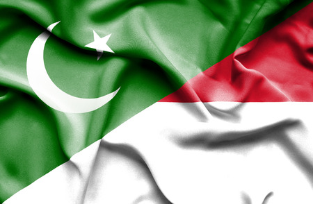 flag of pakistan: Waving flag of Indonesia and Pakistan Stock Photo
