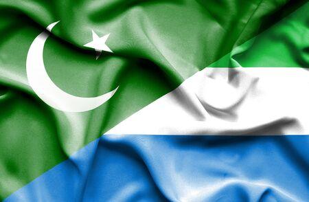 leone: Waving flag of Sierra Leone and Pakistan