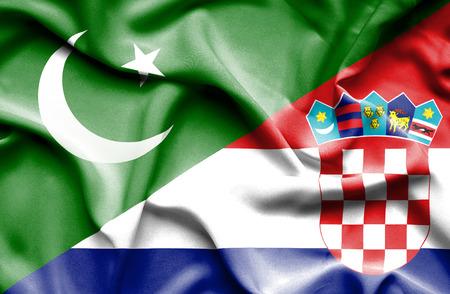 flag of pakistan: Waving flag of Croatia and Pakistan Stock Photo