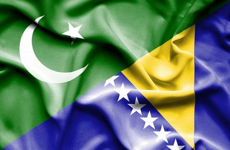 bosnia and herzegovina flag: Waving flag of Bosnia and Herzegovina and Pakistan Stock Photo