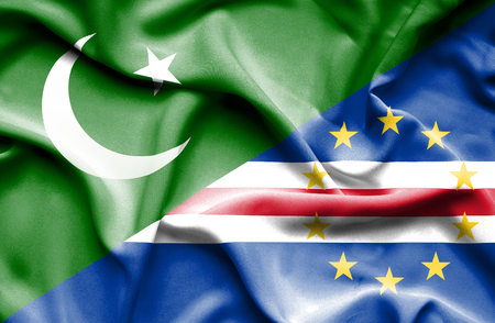 cape verde: Waving flag of Cape Verde and Pakistan Stock Photo